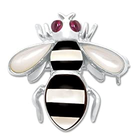 Sterling Silver Onyx, Created Ruby & Mother-Of-Pearl Diamond Bee Pin/Pendant