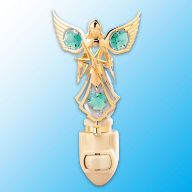 24k Gold Angel with Star Night Light - Green Swarovski Crystal