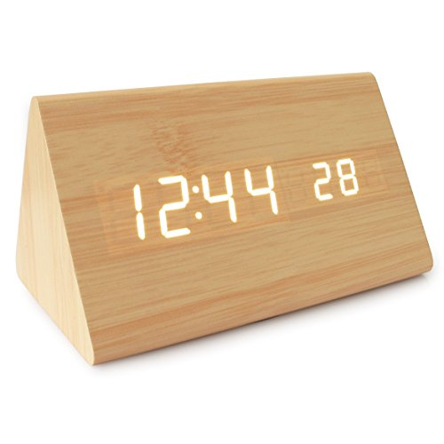 JCC Wooden Series Modern Mini Triangle Wood Grain Thermometer Touch Sound Activated Desk LED Digital Alarm Clock (Powered by: Battery / USB / DC) (Bamboo-White)