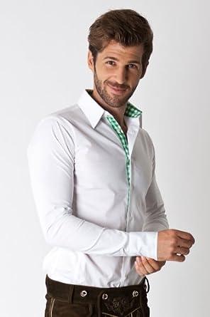 modisches trachtenhemd marcel f r herren slim fit wei und gr n kariert mit hirschstickerei. Black Bedroom Furniture Sets. Home Design Ideas