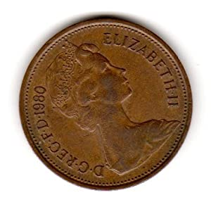 Coins United Kingdom/Great Britain. One Single 2 New Pence Elizabeth II Bronze Coin Dated 1980.