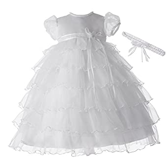 Lauren Madison baby girl Christening Baptism Newborn Multi Tiered Gown With Satin Bodice, White, 0-3 Months