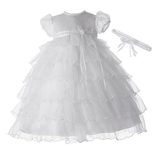 Lauren Madison baby girl Christening Baptism Newborn Multi Tiered Gown With Satin Bodice, White, 9-12 Months