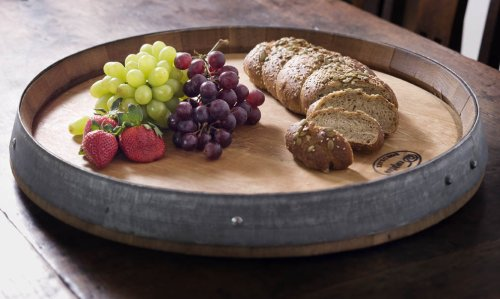 True Fabrications Used Wine Oak Barrel Lazy Susan and Serving Tray