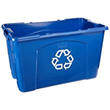 "Rubbermaid Commercial Polyethylene 18-Gallon Commercial Stacking Recycle Bin, Rectangular, 16"" Width x 25.75"" Length x 14.75"" Height, Blue"