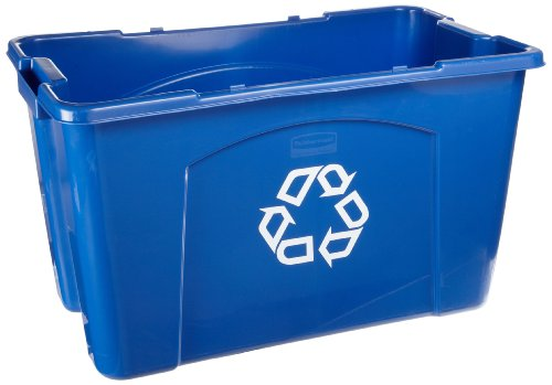 """Rubbermaid Commercial Polyethylene 18-Gallon Commercial Stacking Recycle Bin, Rectangular, 16"""" Width X 25.75"""" Length X 14.75"""" Height, Blue"""