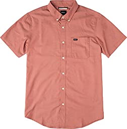RVCA Men\'s That\'ll Do Oxford Short Sleeve Shirt, Pompeii Red, XX-Large