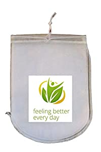 Deluxe Nut Milk Bag - (Free Guide and Recipe E-Booklet Included), Top Quality, Food Grade,... by Feeling Better Every Day