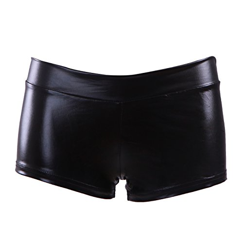 HDE Women's Metallic Rave Booty Dance Shorts Liquid Wet Look Ruched Back Mini Shorts (Black, Small)