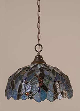 lighting 10 dg 995 pendant light with blue mosaic tiffany in dark