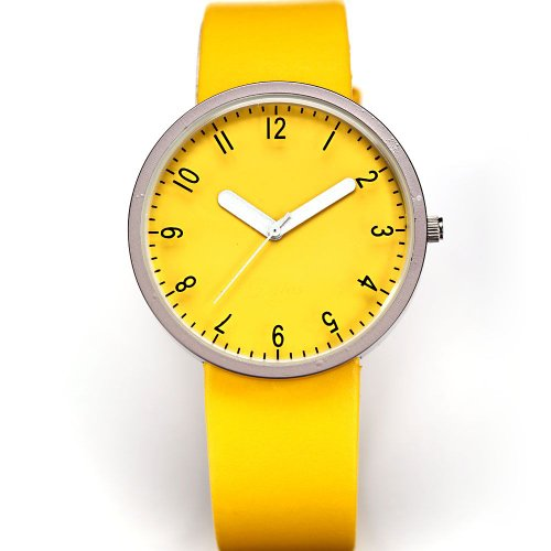 AMPM24 Fashion Women Lady Yellow Dial Leather Sport Quartz Wrist Watch Gift
