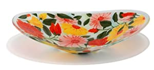 Peggy Karr Handcrafted Art Glass Summer Blooms Serving Bowl, Oval, 16-Inch
