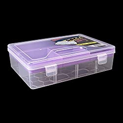 Multipurpose Transparent Plastic Storage Box with Removable Dividers, Partition for Storing Various Items. (Purple)