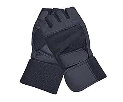 Leather Weight Lifting Gloves Long Wrist Wrap Gloves Exercise Fitness Gloves Home Gym by AllSorts