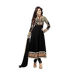 Black Georgette Embroidered Semi Stitched Salwar Suit