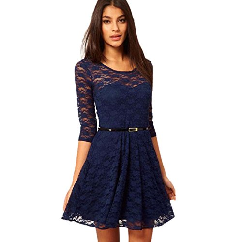 Aokdis Womens Sexy Lace Hollow Clubwear Evening Party Summer Dress With Belt (M, Dark Blue)