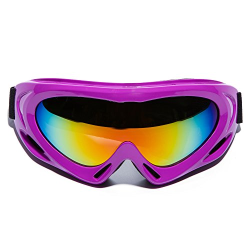 MIGAGA UV Protection Ski Goggles Adjustable Portable Motorcycle Bicycle Goggles Dustproof Scratch-Resistant CS Army Tactical Military Goggles Windproof Snowmobile Eyewear Outdoor Riding Glasses Purple
