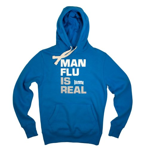 Plain Lazy Man Flu is Real Men's Hoodie (Large, Hawaiian Blue)