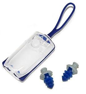 Aqua Sphere Silicone Ear Plug with Case, Navy/Gray
