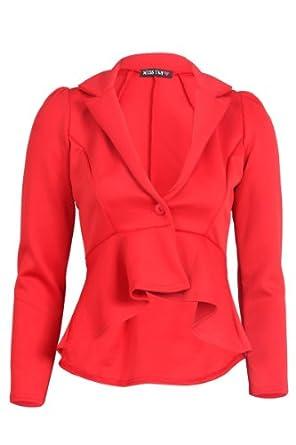 My1stWish Womens 55F Long Sleeved Ladies Peplum Tailored Mullet Blazer