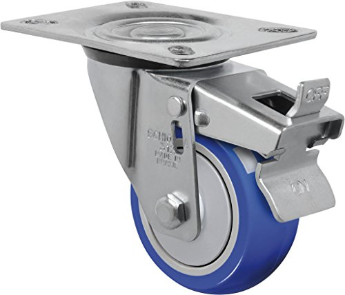Schioppa L12 Series, GL 312 TP G, 3 x 1-1/4″ Swivel Caster with Total Lock Brake, Non-Marking Thermoplastic Compound Wheel, 150 lbs, Plate 3-1/8 x 4-1/8″ (Bolt Holes 3-1/8 x 2-1/4″)