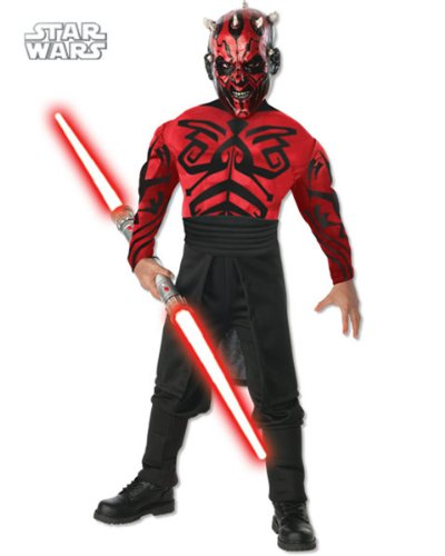 Boy's Deluxe Muscle Chest Darth Maul Costume AND Accessories ( Large )