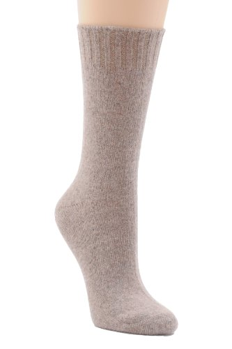 Womens Socks Crew Virgin Wool Cashmere Blend 23 Colors Available Made in USA Color:: Taupe