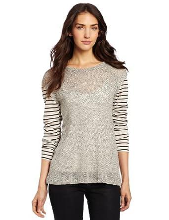 LnA Women's Alexandrine Sweater, Grey/Black, Medium