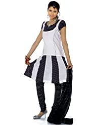 Exotic India Black And White Polka Dotted Suit With Flaired Kameez - Black