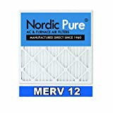 Nordic Pure 20x25x4 AC Furnace Air Filters MERV 12, Box of 2