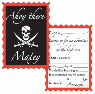 Pirate Birthday Party Invitations - 8 Cards and