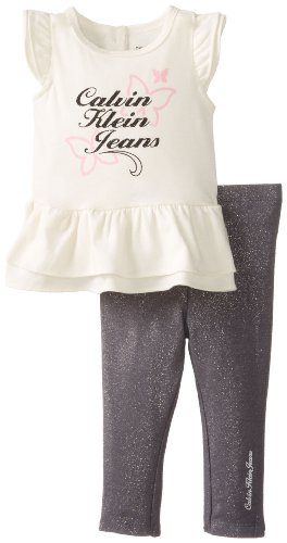 Calvin Klein Baby-Girls Newborn Top With Leggings, Cream, 3-6 Months front-1036463