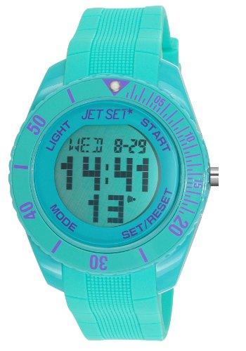 Jet Set J93491-22 - Reloj digital de cuarzo unisex con correa de caucho, color turquesa