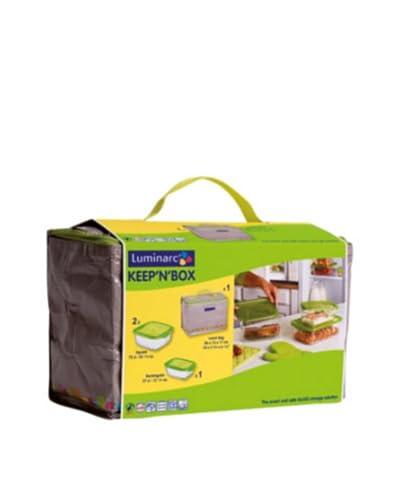 Luminarc Set 3 Recipientes Herméticos Con Bolsa Lunch Modelo Keepn Box