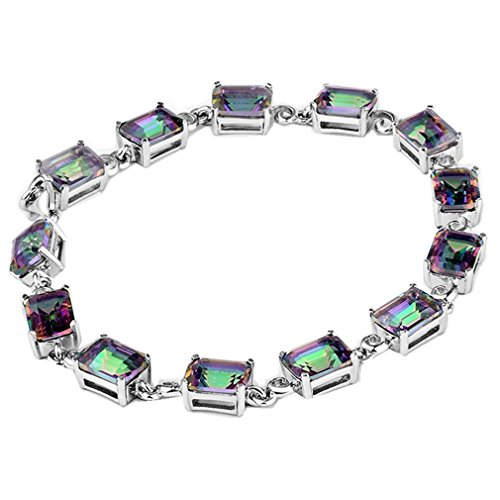 Women Elegant Retro Multicolor Gemstone Mystic Fire Topaz Circle Tennis Bracelet B2M (Mystic Fire Topaz Gem compare prices)