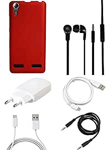 NIROSHA Cover Charger Headphone / Hands Free USB Cable for Lenovo A6000 - Combo