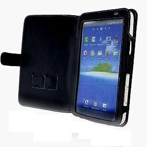 Navitech Schutzhülle im Buch-stil für Samsung Galaxy Tab P1000 aus schwarzem Leder, perfekt verarbeitet mit subtiler weißer Naht.