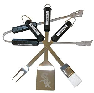MLB 4-Piece BBQ Grill Tool Set MLB Team: Chicago White Sox by Siskiyou Products