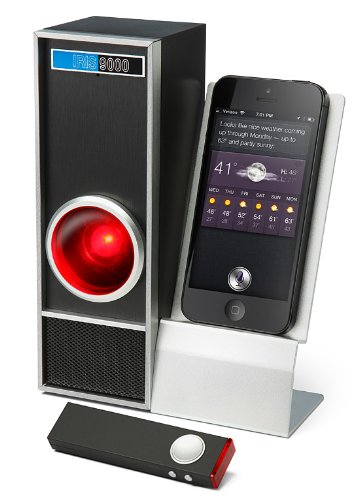 Iris 9000 Bluetooth (Wireless) Speaker & Speakerphone - Iphone Lightning And 30Pin, And Android Usb Micro & Mini Compatible Cellphone Dock - Connects Via Bluetooth - Scifi Style Of 2001: A Space Odyssey - Siri Speaks To You - Ultimate Scifi Geek Tech Gift