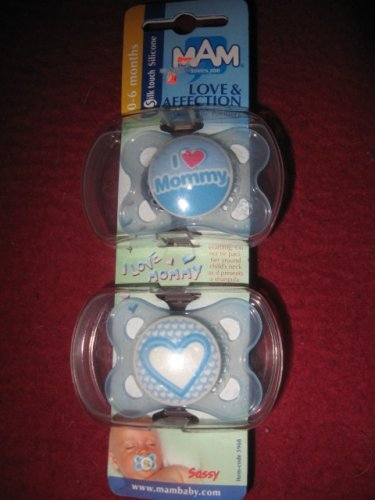 Sassy MAM Love & Affection Silicone Pacifier - 2+ Months - 2 Pack (Boys Color)