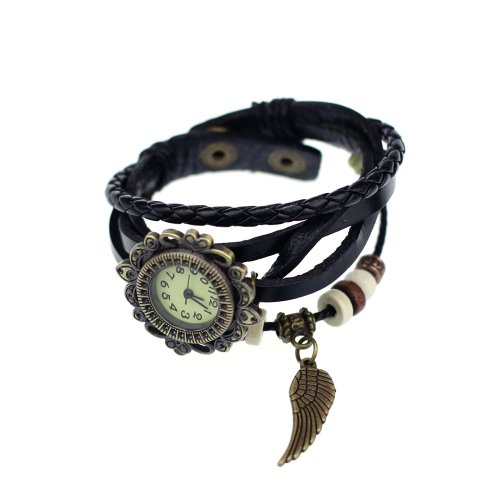 2014 Susenstore New Quartz Fashion Weave Wrap Around Leather Bracelet Wrist Watch for Women