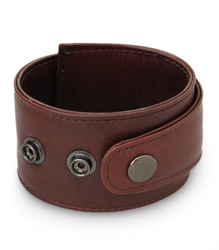 Mens leather wristband bracelet, Sumbawa Brown