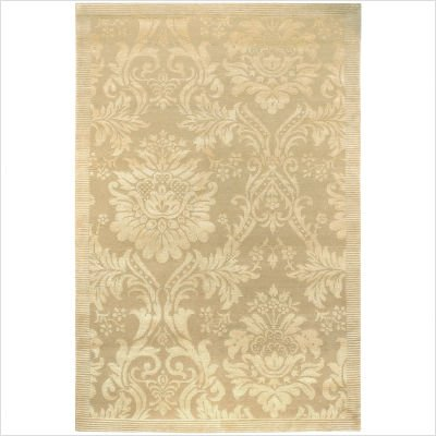 9' x 12' Area Rug Damask Pattern in Gold and Ivory Color