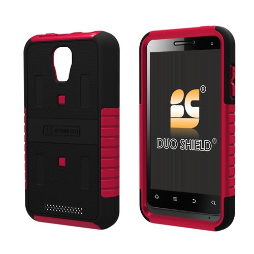 Beyond Cell Duo-Shield® Hard Shell & Silicone Skin Case for ZTE V8000 Engage - Black/Hot Pink