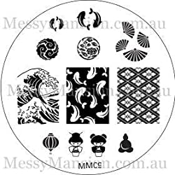 Messy Mansion Mm09 Nail Art Stamping Plate Japanese Themed