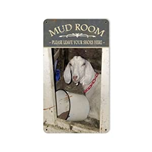 Mud Room Funny Goat Vintage Metal Sign Laundry Home 8 X 14 Steel Not Tin