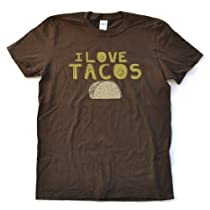 I Love Tacos Adult Brown Cotton T-Shirt (XLarge)