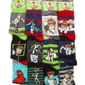 Six Pairs of Boys BEN TEN 10 Character socks  Size 12 - 3 ( Eur 31 - 34)