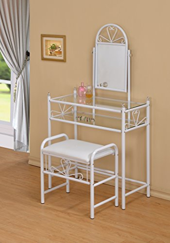 3 Piece Metal Make Up Heart Mirror Vanity Dresser Table And Stool Set White