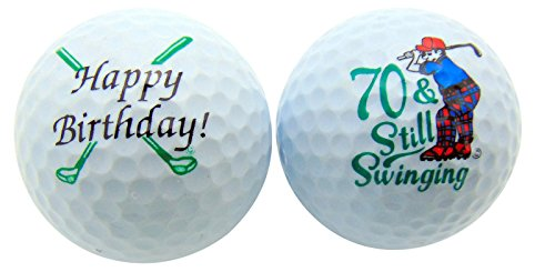70th Birthday Seventy & Still Swinging Set of 2 Golf Ball Golfer Gift Pack